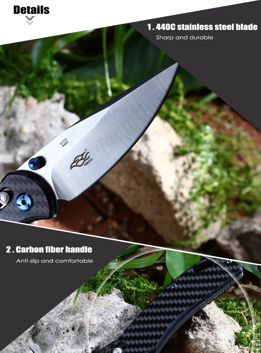 Ganzo G7531 - CF Axis Lock Foldable Knife with Carbon Fiber Handle