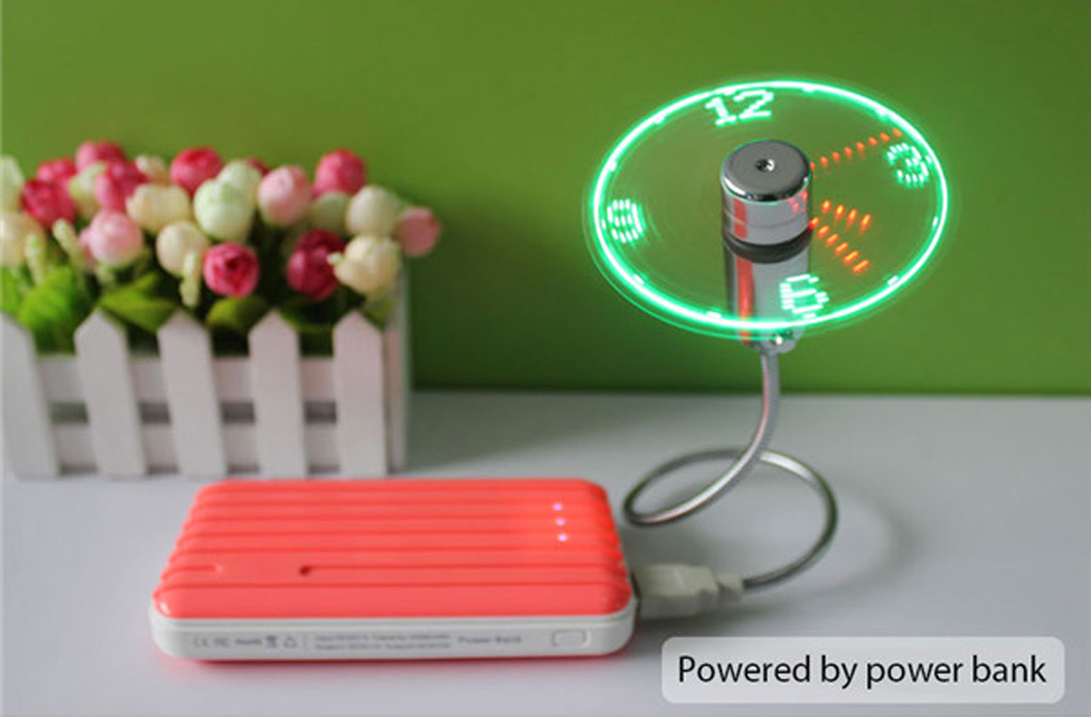 Mini USB Flexible Time Clock Fan with LED Light for PC / Laptop / Power Bank