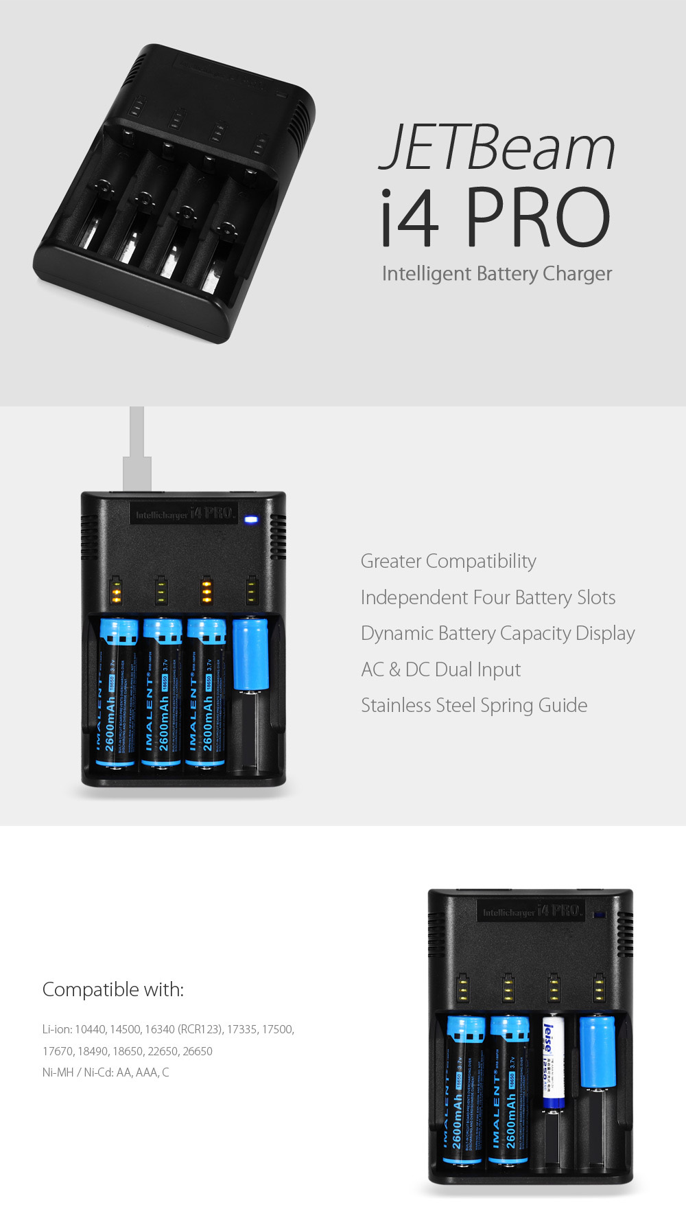 JETBeam i4 PRO Intelligent Battery Charger 4 Slots LED Indicator