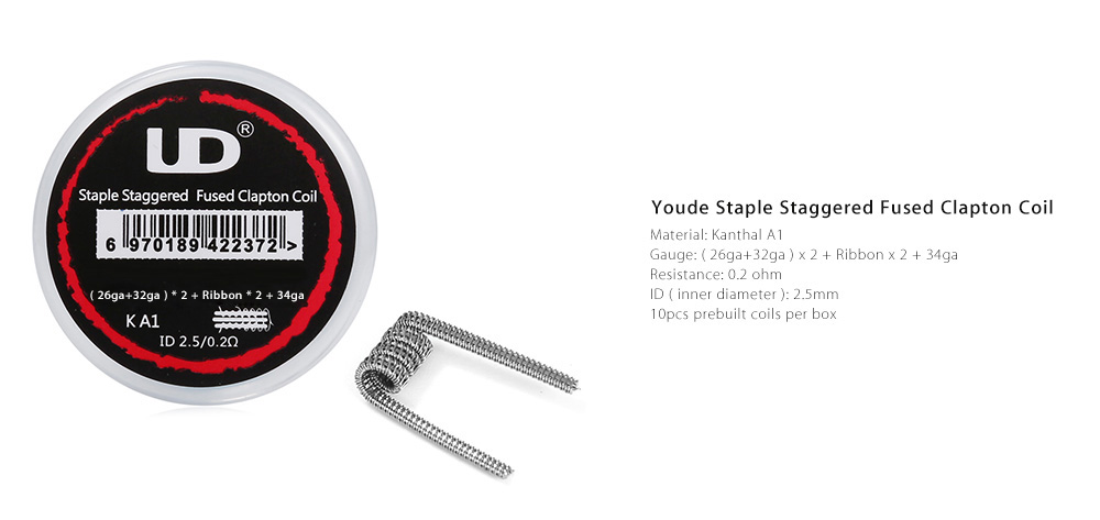 Original Youde 0.2ohm Staple Staggered Fused Clapton Coil Prebuilt Heating Wire E Cigarette Accessory ( 10pcs / Box )