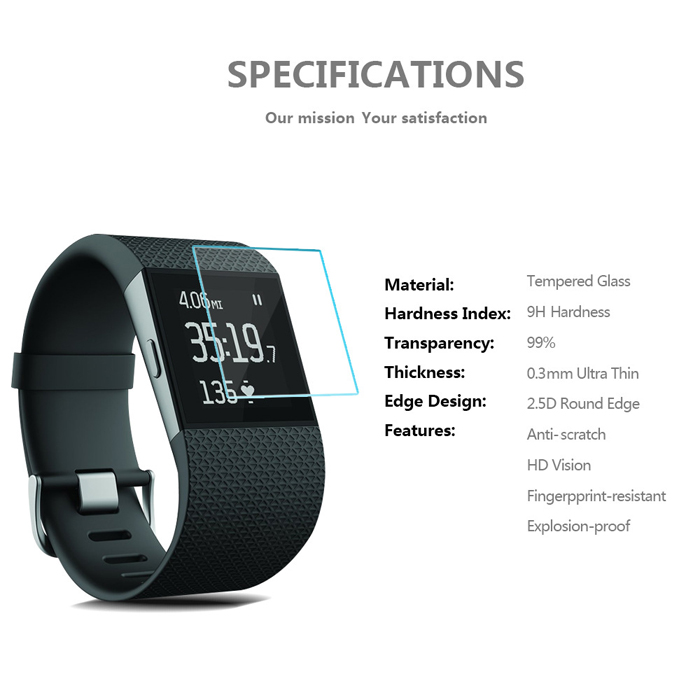 2.5D Arc Edge Anti-explosion Tempered Glass for Fitbit Surge Smart Watch