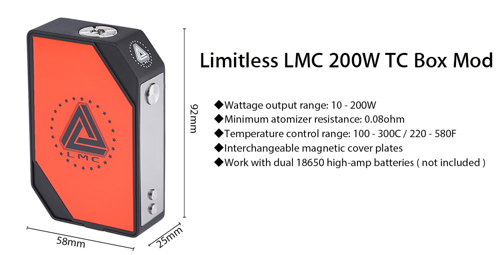 Original IJOY Limitless LMC 200W TC Box Mod with Interchangeable Plate / Supporting Ti / Ni / Stainless Steel Wire E Cigarette Vape Mod