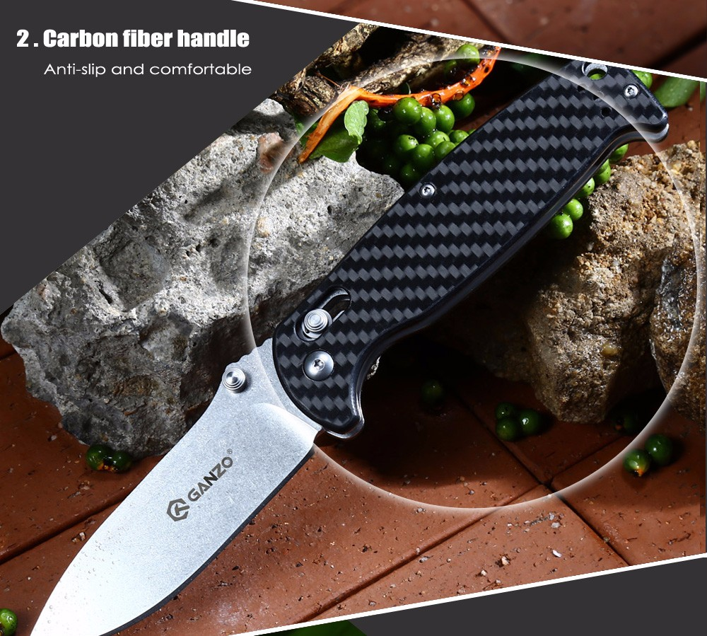 Ganzo G7412 - CF Axis Lock Foldable Knife with Carbon Fiber Handle