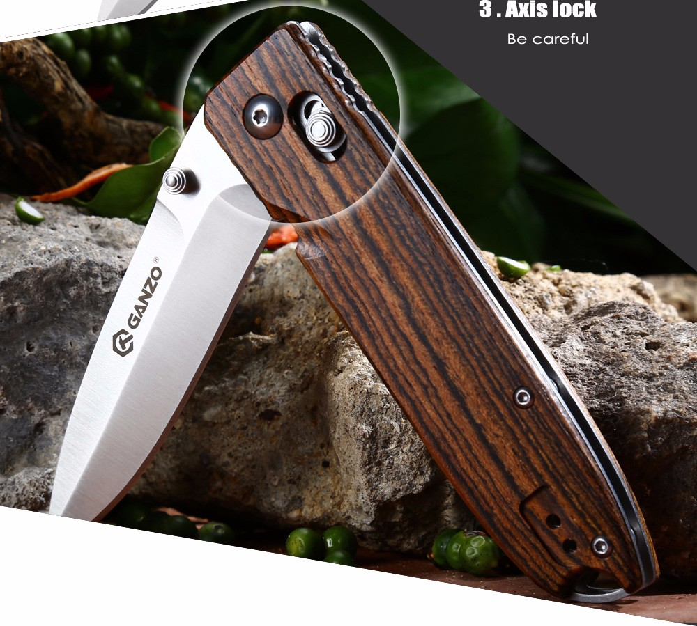 Ganzo G746 - 1 - WD1 Axis Lock Foldable Knife with Wooden Handle