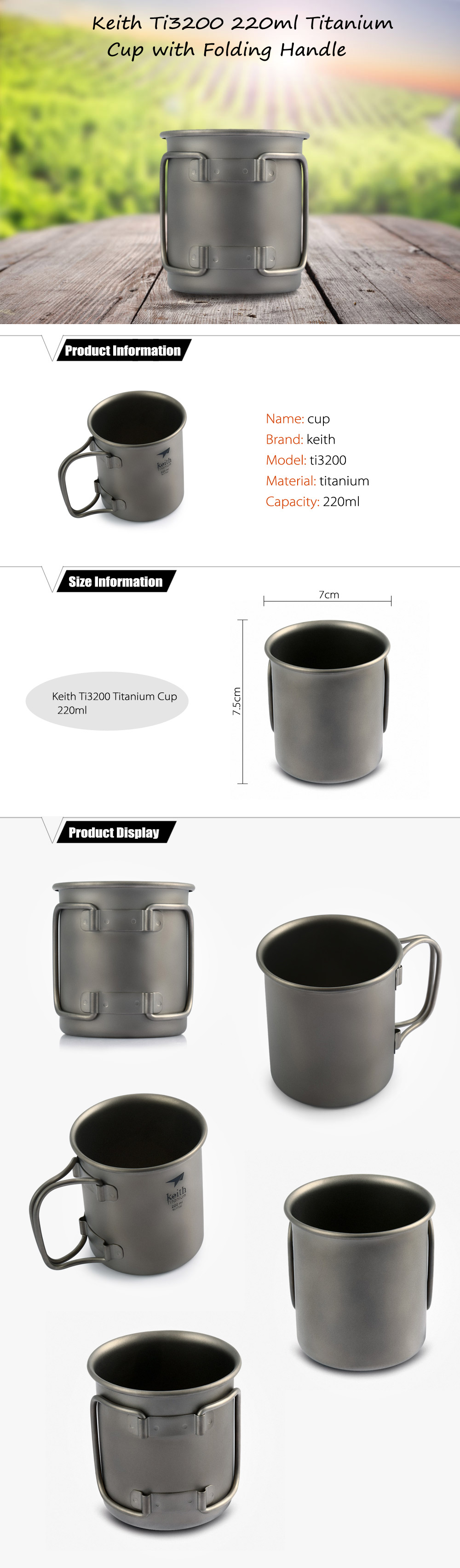 Keith Ti3200 220ml Titanium Cup with Folding Handle