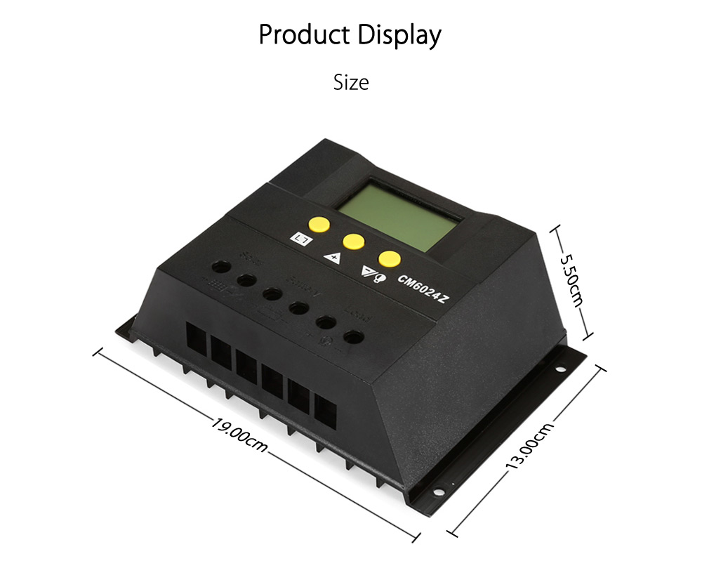 UEIUA CM6024Z 60A 12V / 24V Auto Switch Solar Controller for PV Panel Battery Charge