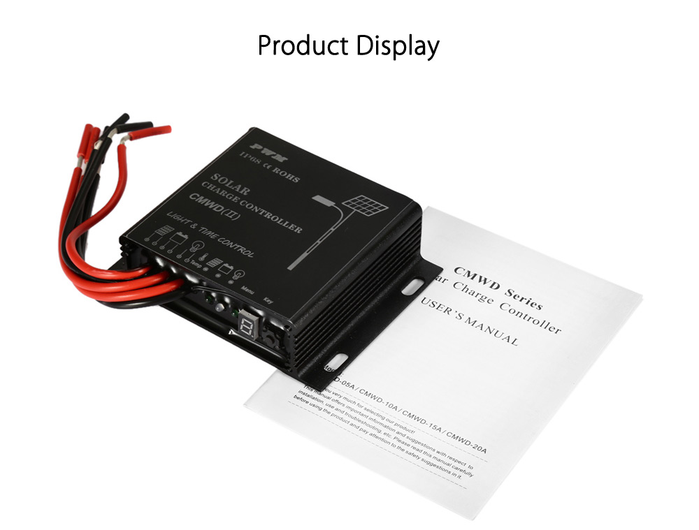 UEIUA CMWD - 10A IP68 10A 12 / 24V Solar Charge Controller with LED Digital Display