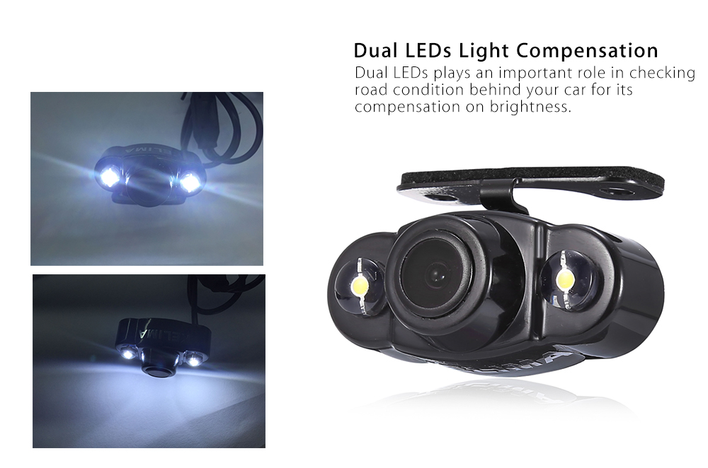 KELIMA CR22 170 Degree Dual LEDs Car Rear View Camera with ACC