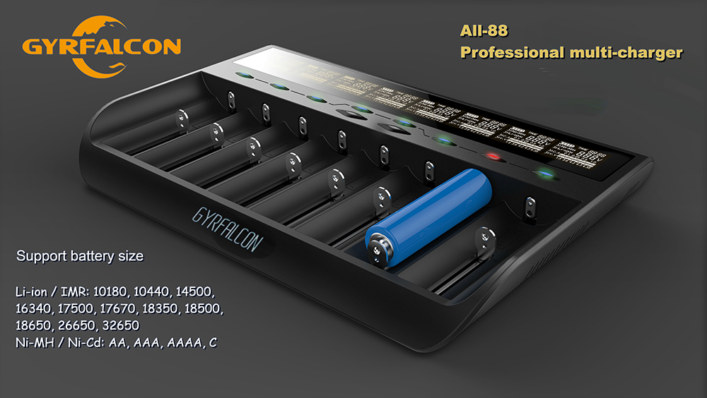 GYRFALCON All - 88 8 Slots Intelligent Battery Charger for Li-ion Ni-MH NiCd LiFePO4 Batteries