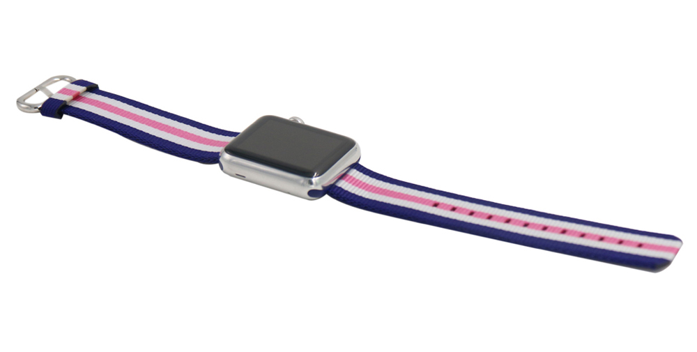 Leisure Color Contrast Nylon Watchband for Apple Watch 38mm Ultra-thin Strap Wristband Replacement
