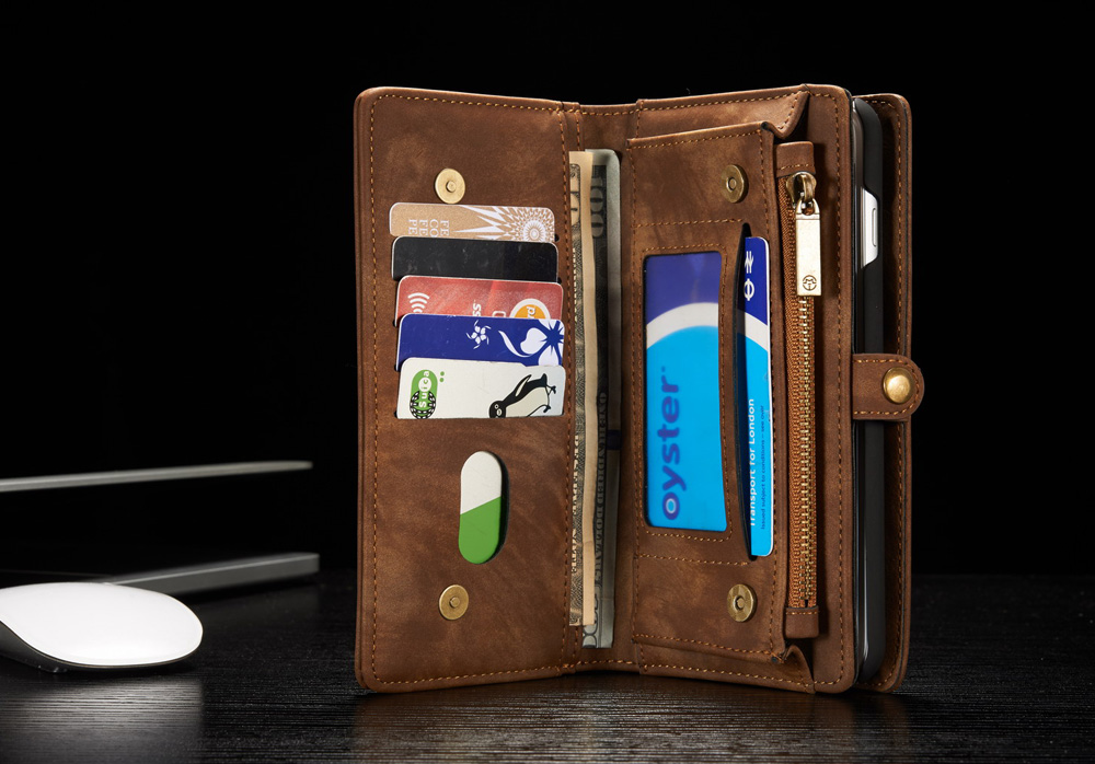 CaseMe Ancient Style PU Leather Wallet Phone Cover Case for iPhone 7 Plus Mobile Protector with Card Holders