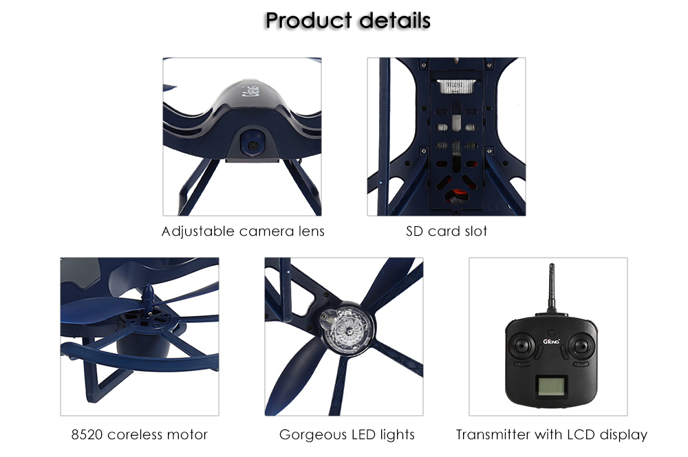 GTeng T905C 720P Camera 2.4GHz 4CH 6 Axis Gyro RC Drone - RTF