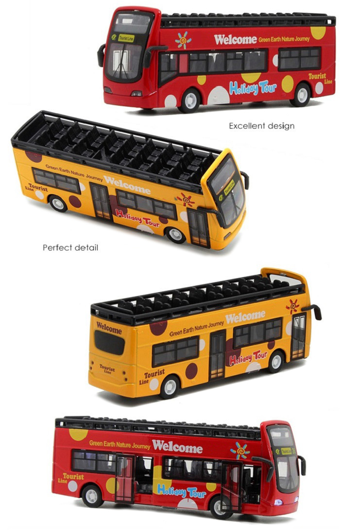 1 / 32 Alloy + Plastic Model Travel Bus Pullback Vehicle Collection Toy with Music Light