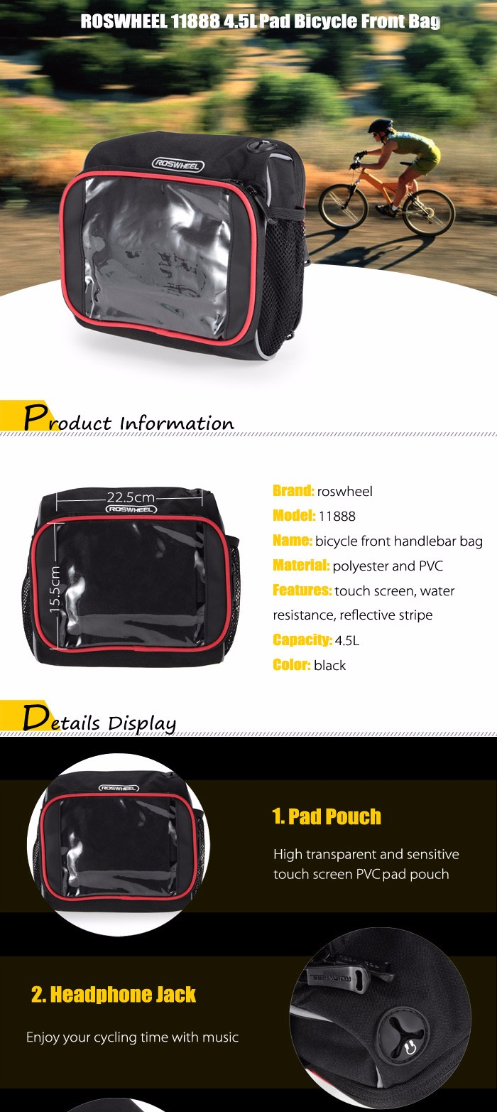 ROSWHEEL 11888 4.5L Touch Screen Water Resistant Bicycle Front Bag Pad Cycling Pouch Sling Pack
