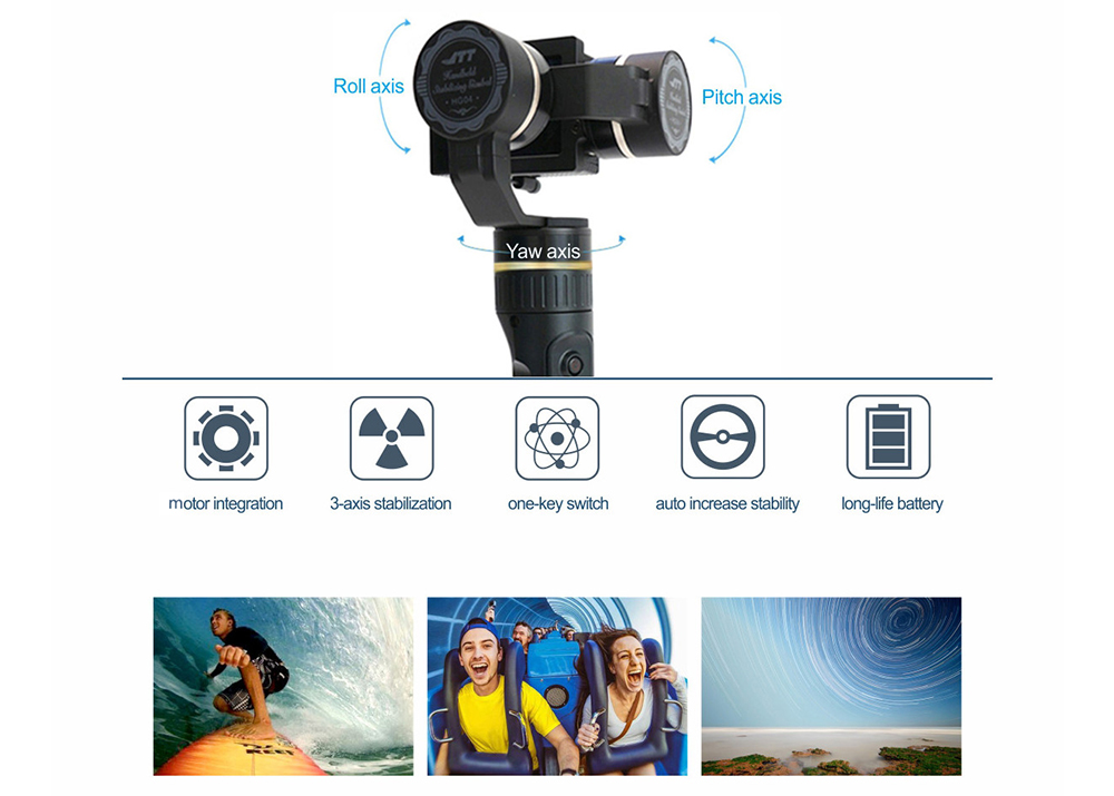 JTT HG04 3-axis Handheld Stabilizer for Action Camera Vertical 320 Degree Horizontal 100 Degree