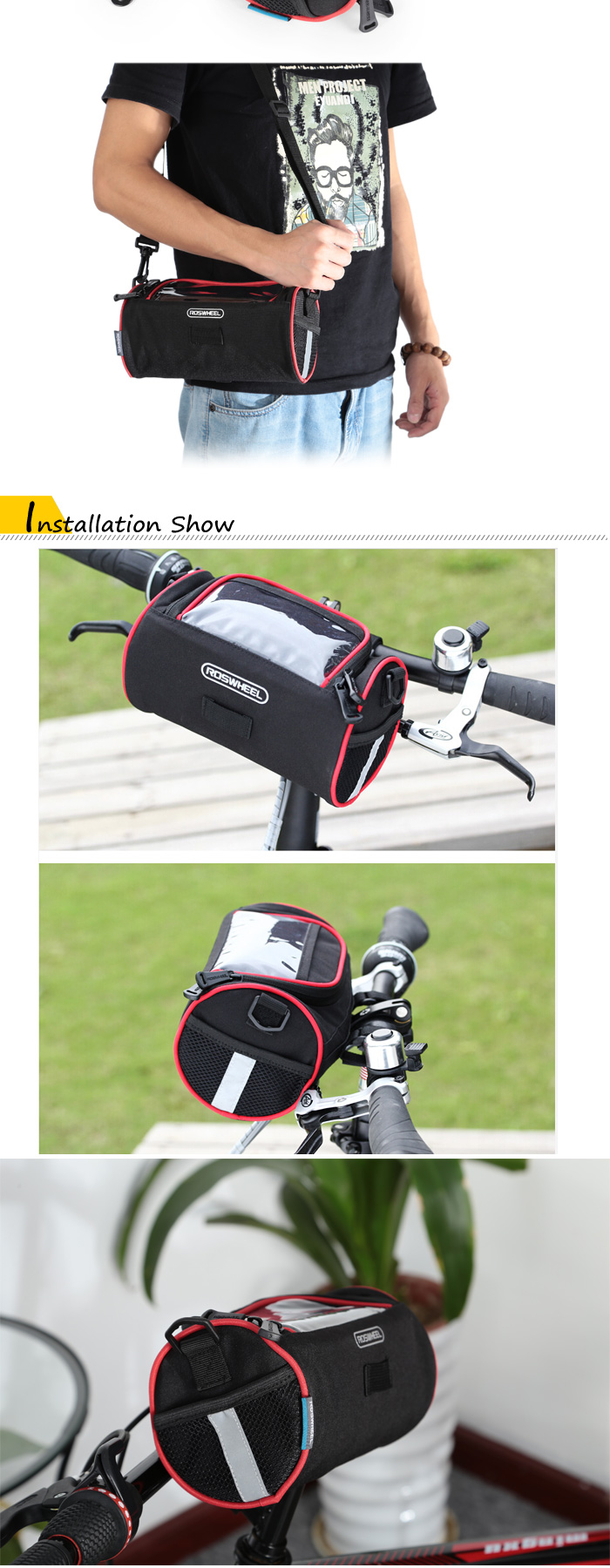 ROSWHEEL 11887 3L Touch Screen Water Resistant Bicycle Front Bag Cycling Pouch Sling Pack