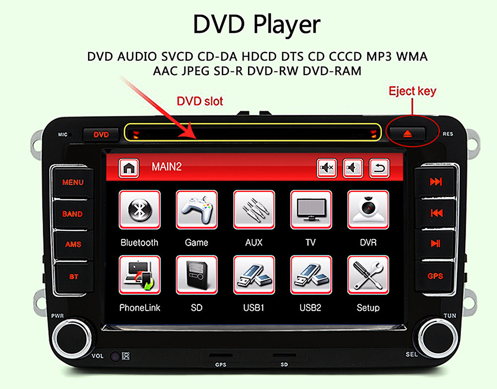 Junsun DVD - 7.0 - CE with Rearview Camera 7.0 inch 2 Din In-dash WiFi Car DVD MP3 Player Touch Screen / Bluetooth V2.0 / Radio FM AM / GPS / SWC / Received Dialed Call