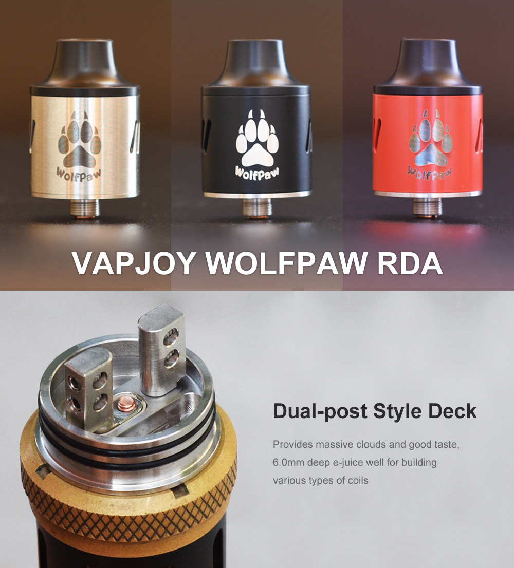 Original VAPJOY WOLFPAW RDA with Side Adjustable Airflow Slots / Dual Posts Deck E Cigarette Rebuildable Dripping Atomizer