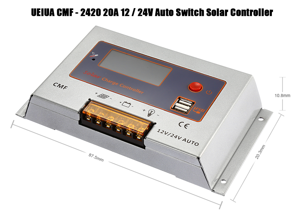 UEIUA CMF - 2420 20A 12 / 24V Auto Switch Solar Controller for PV Panel Battery Charge