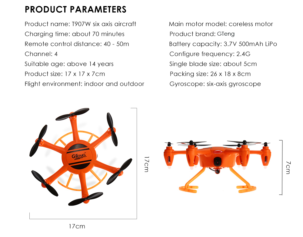 GTeng T907W 2.4GHz 4CH 6-axis Gyro WiFi FPV Hexacopter Speed Switch / Air Pressure Altitude Hold / 0.3MP CAM