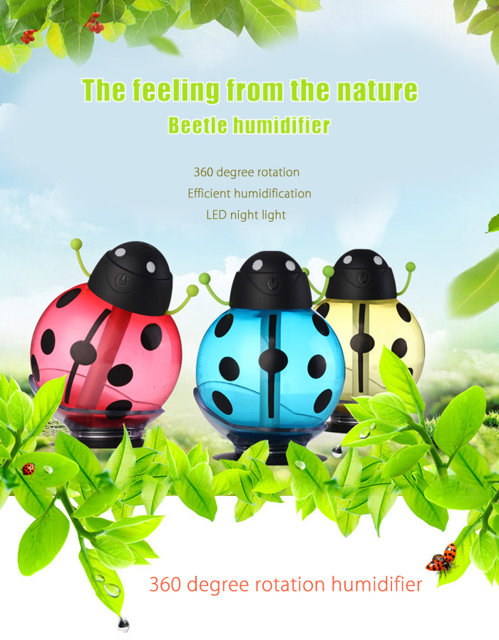 Creative Cartoon Beetle USB Cool Mist Humidifier for Home Office
