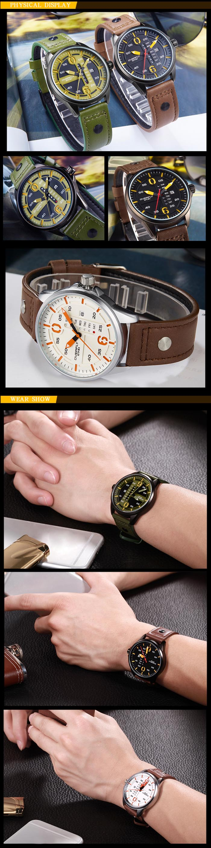 EYKI OVERFLY 3058 Casual Male Quartz Watch with Hollow-out Scale