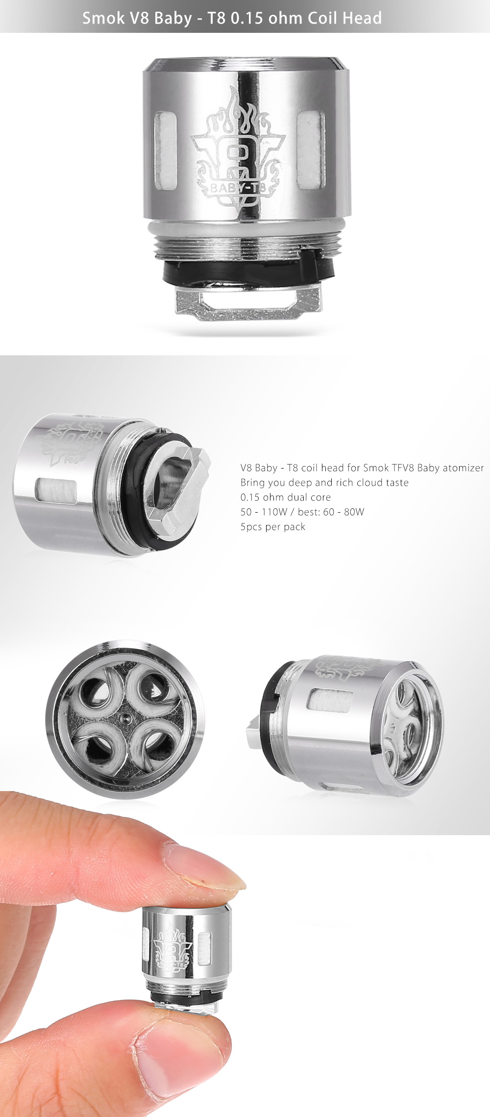 Smok V8 Baby - T8 0.15 ohm Coil Head for TFV8 Baby Atomizer for E Cigarette(5pcs / Pack)