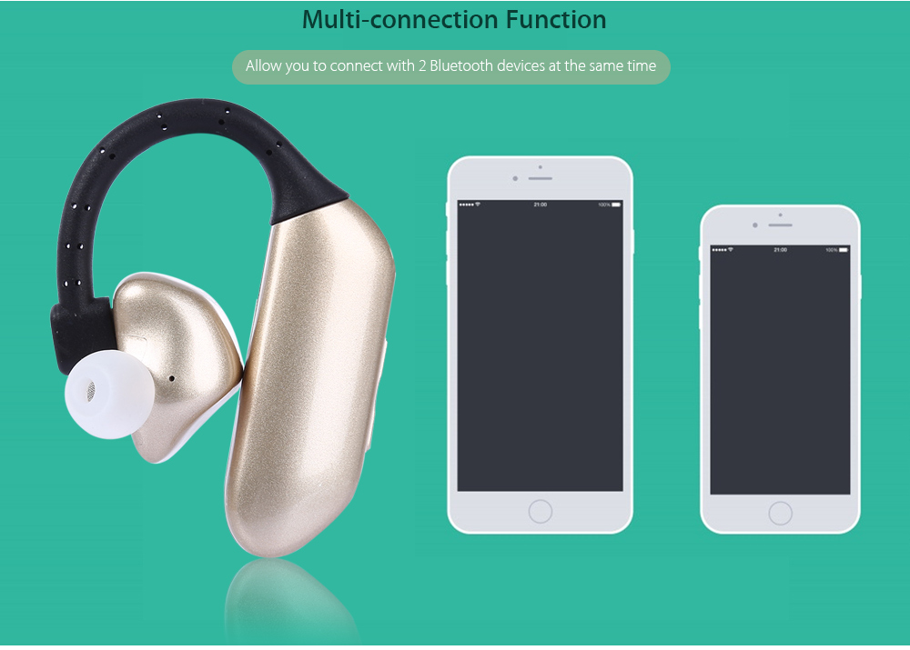 Q8 Wireless Bluetooth 4.1 Ear-hook Earbuds with Mic Support Handsfree Calls