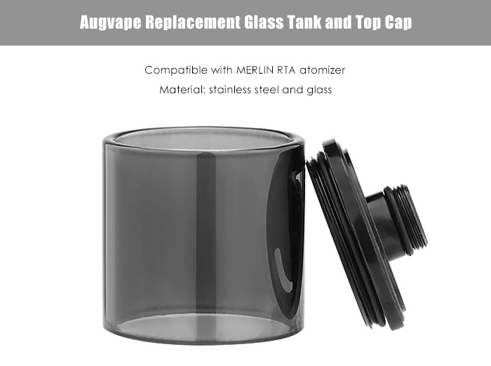Original Augvape Replacement Glass Tank with Top Cap / Dual Filling Holes for MERLIN RTA Atomizer E Cigarette Accessory