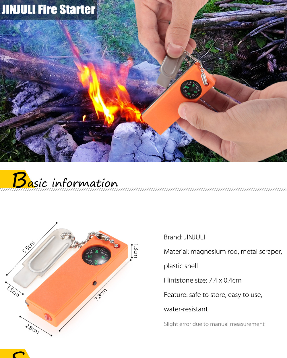 JINJULI Multi-use Magnesium Fire Starter with Compass / LED Light for Outdoor Survival