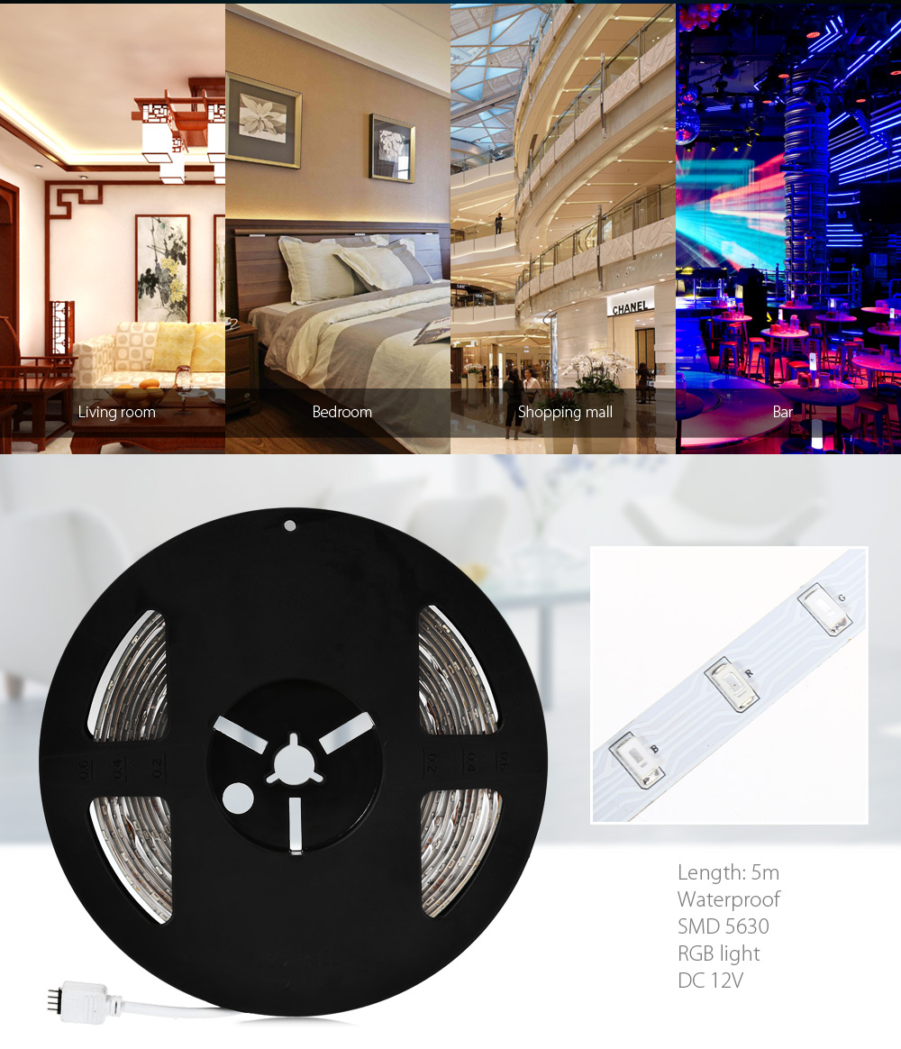 SENCART 5m 300 x SMD 5630 90W 12V Waterproof Remote Control RGB LED Strip Light