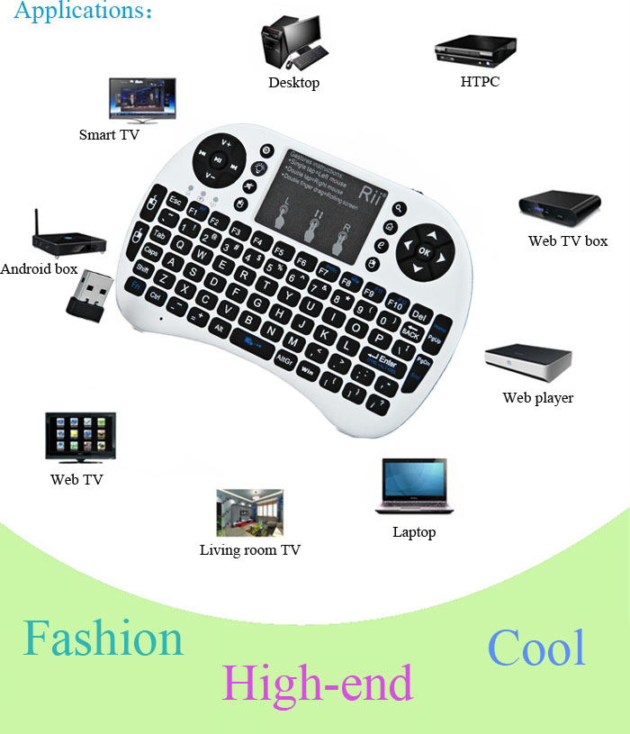 Rii i8+ Mini 2.4GHz Wireless Touchpad QWERTY Keyboard Built-in Lithium Battery for Smart TV