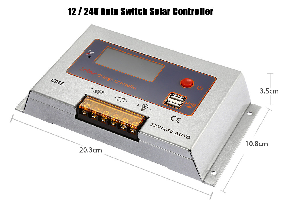 UEIUA CMF - 2410 10A 12 / 24V Auto Switch Solar Controller for PV Panel Battery Charge