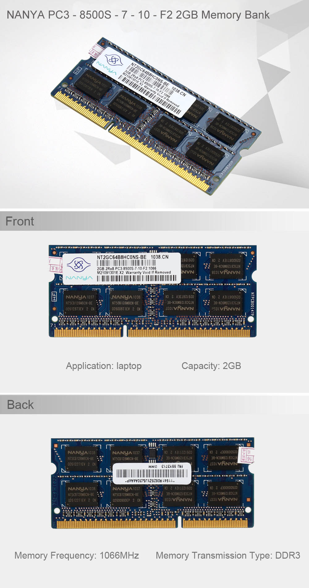 NANYA PC3 - 8500S - 7 - 10 - F2 2GB DDR3 Memory Bank 1066MHz 204 Pin