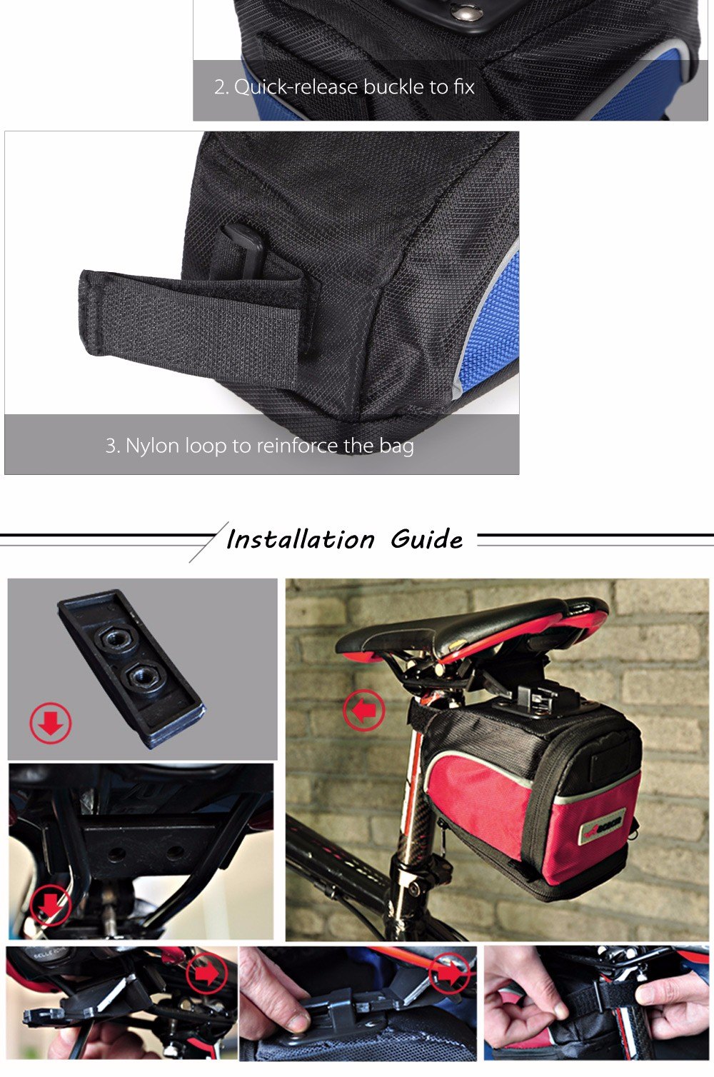 Acacia 04112 Extendable Bicycle Saddle Bag Bike Tail Pouch