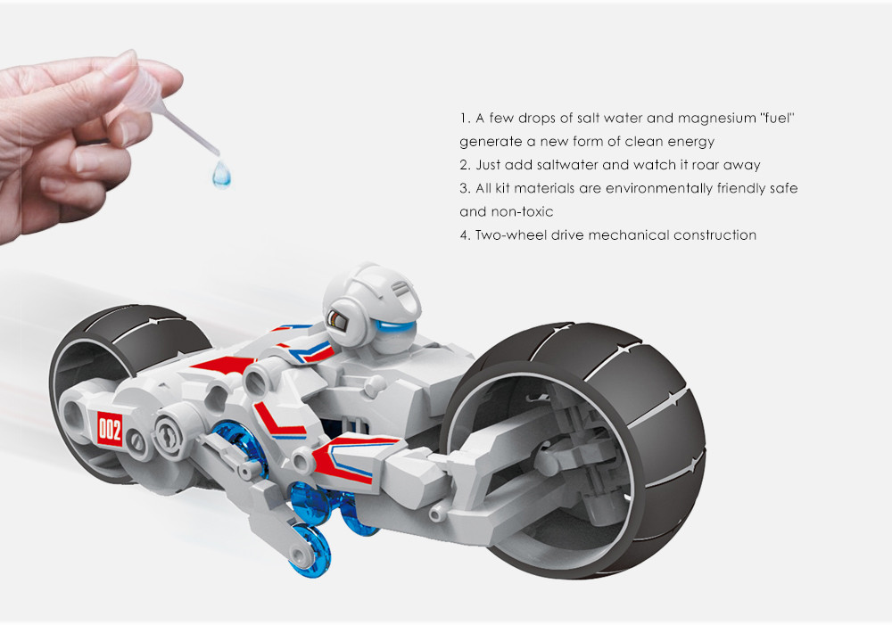 DIY Puzzle Salt Water Powered Motorbike Science Education Assembly Toy for Children