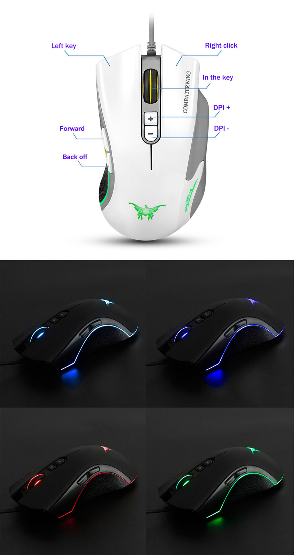 Combaterwing CW10 4800DPI Wired Gaming Mouse Game Mice