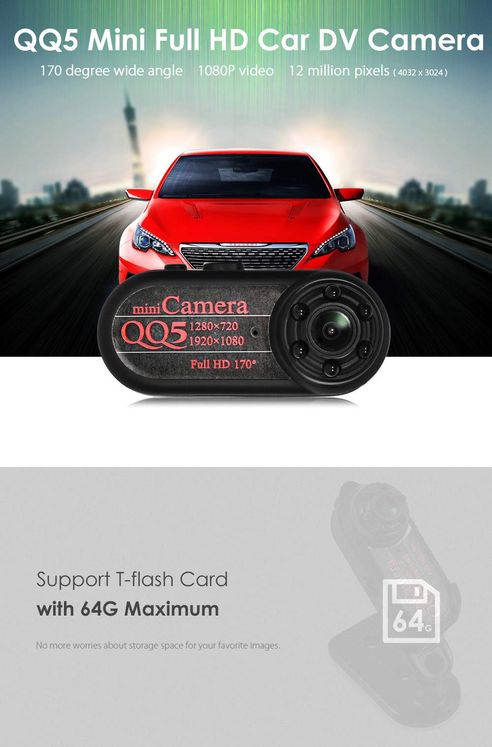 QQ5 Mini Ultra Wide Angle DV 1080P Full HD Support TF Card