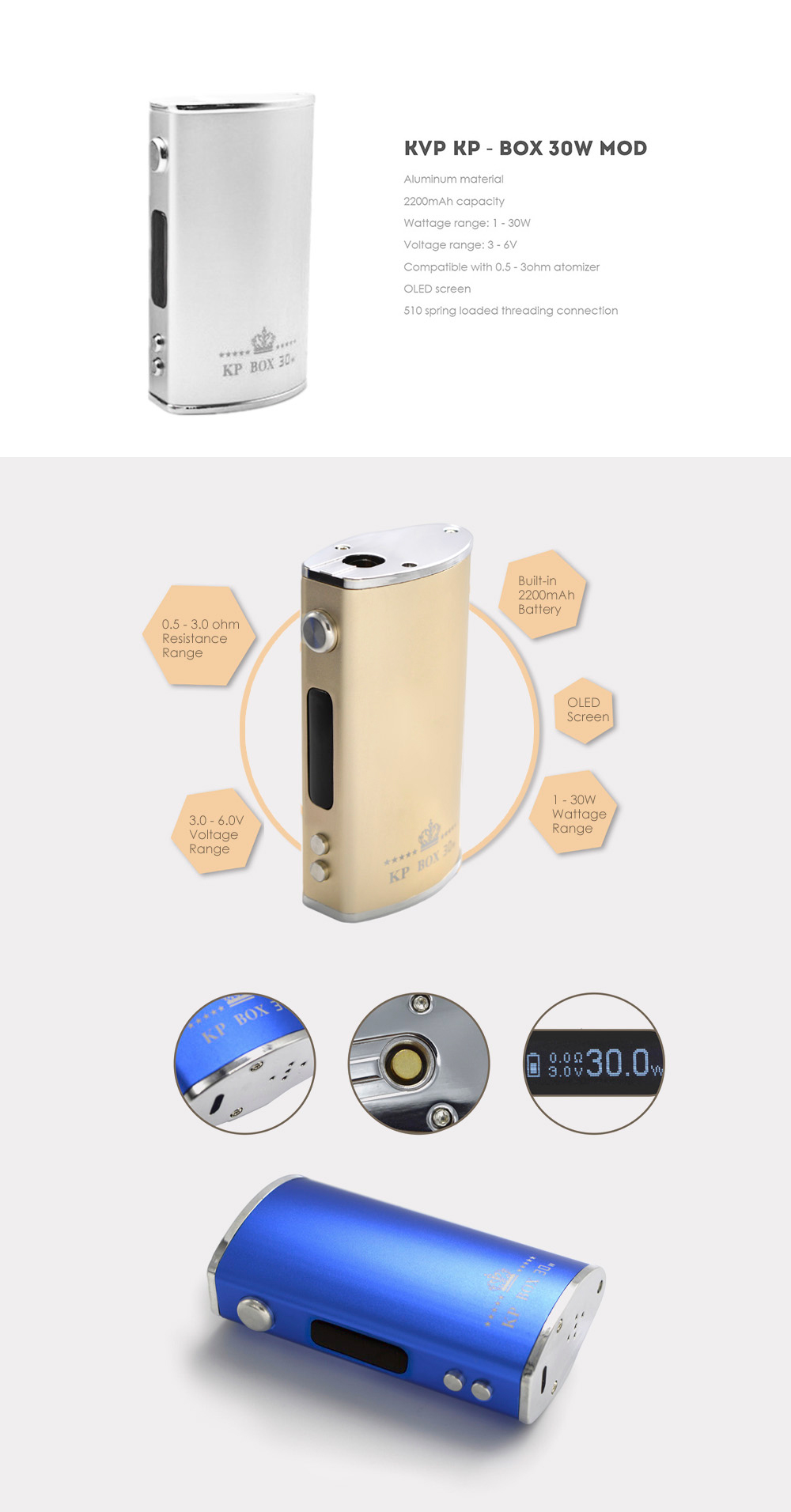 Original KVP KP - BOX Mod with 1 - 30W / 2200mAh / 3 - 6V for E Cigarette