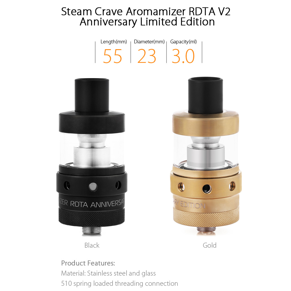 Original Steam Crave Aromamizer RDTA V2 Anniversary Limited Edition with 3ml / 2-post Deck / Dual Extra Coil Head / T-shirt / Changeable Airflow Settings for E Cigarette
