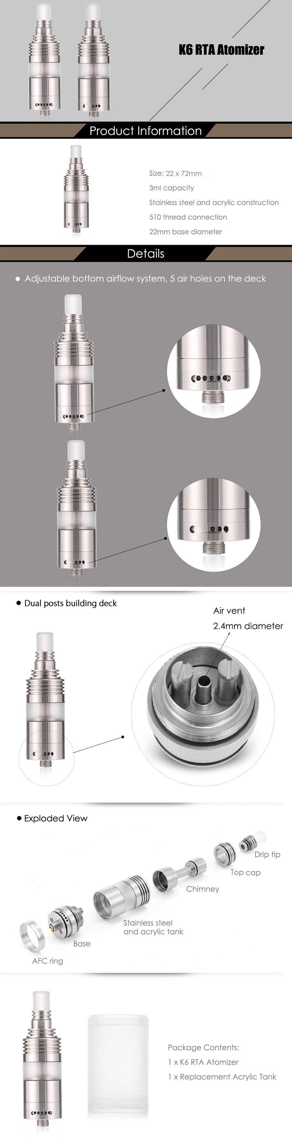 K6 RTA 3ml E Cigarette Rebuildable Tank Atomizer with Dual Posts Deck / Bottom Adjustable Airholes