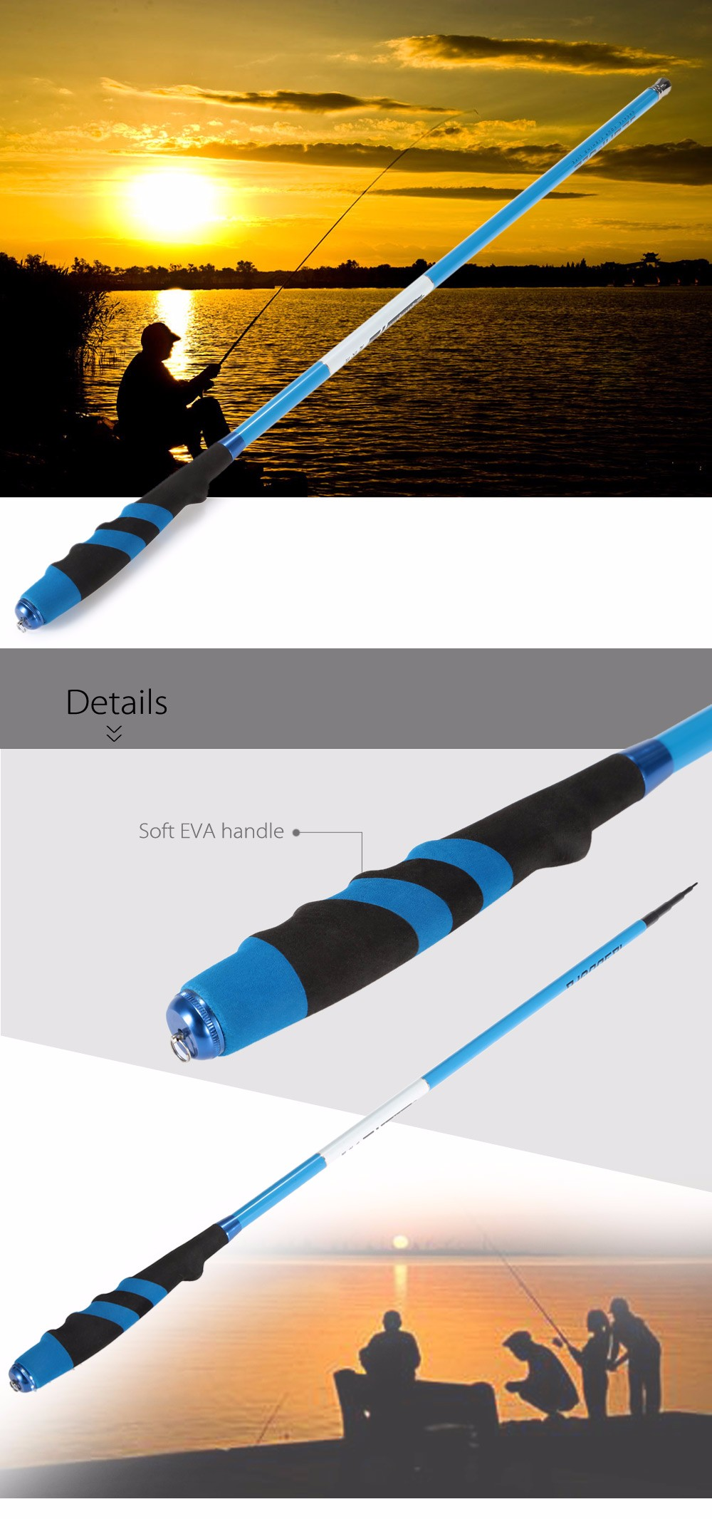 141.7 inch Portable Telescopic Carbon Fishing Rod Stream Pole
