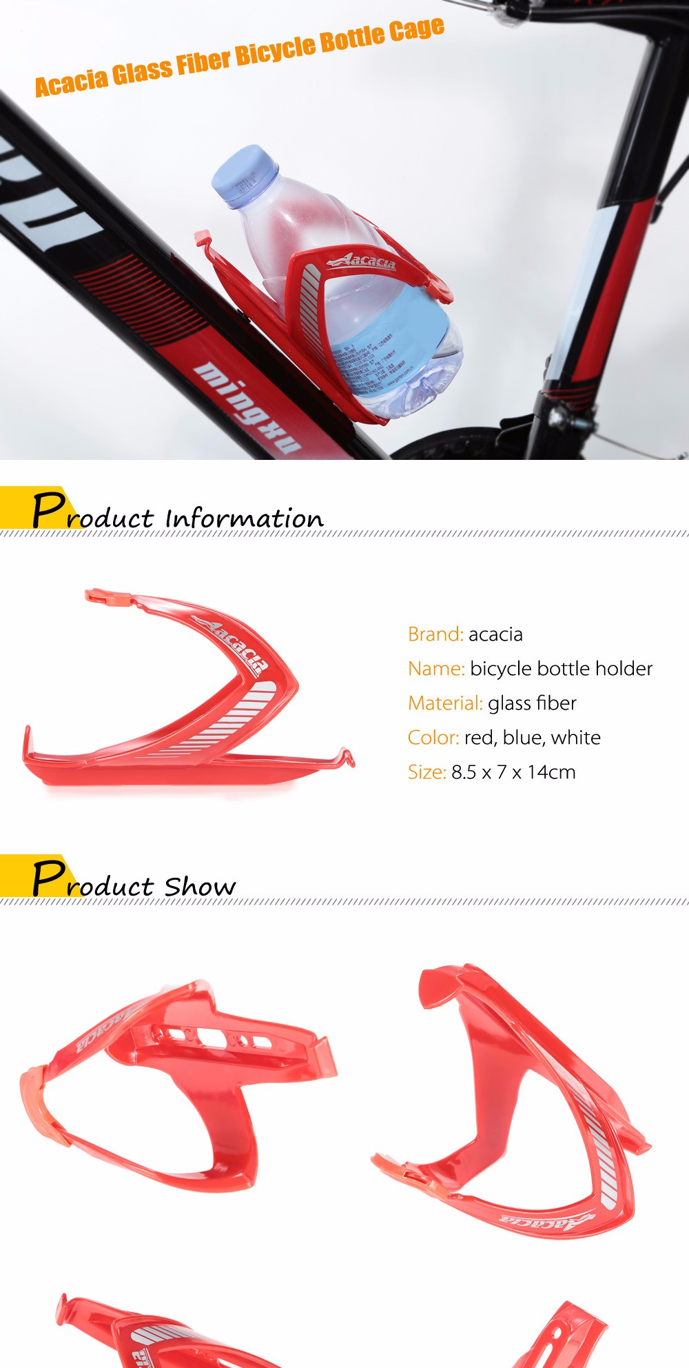 Acacia Lightweight Bicycle Bottle Holder Cage Bike Accessories