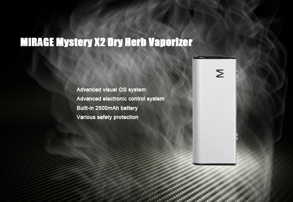 Original MIRAGE Mystery X2 Dry Herb Vaporizer with 2500mAh Battery / 100 - 500F TC / Visual OS System / 0.91inch TFT LCD Screen / Stored Drip Tip for E Cigarette
