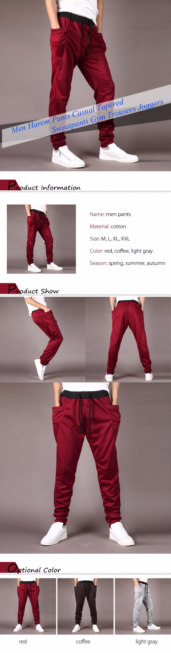 Men Harem Pants Casual Tapered Sweatpants Gym Trousers Joggers