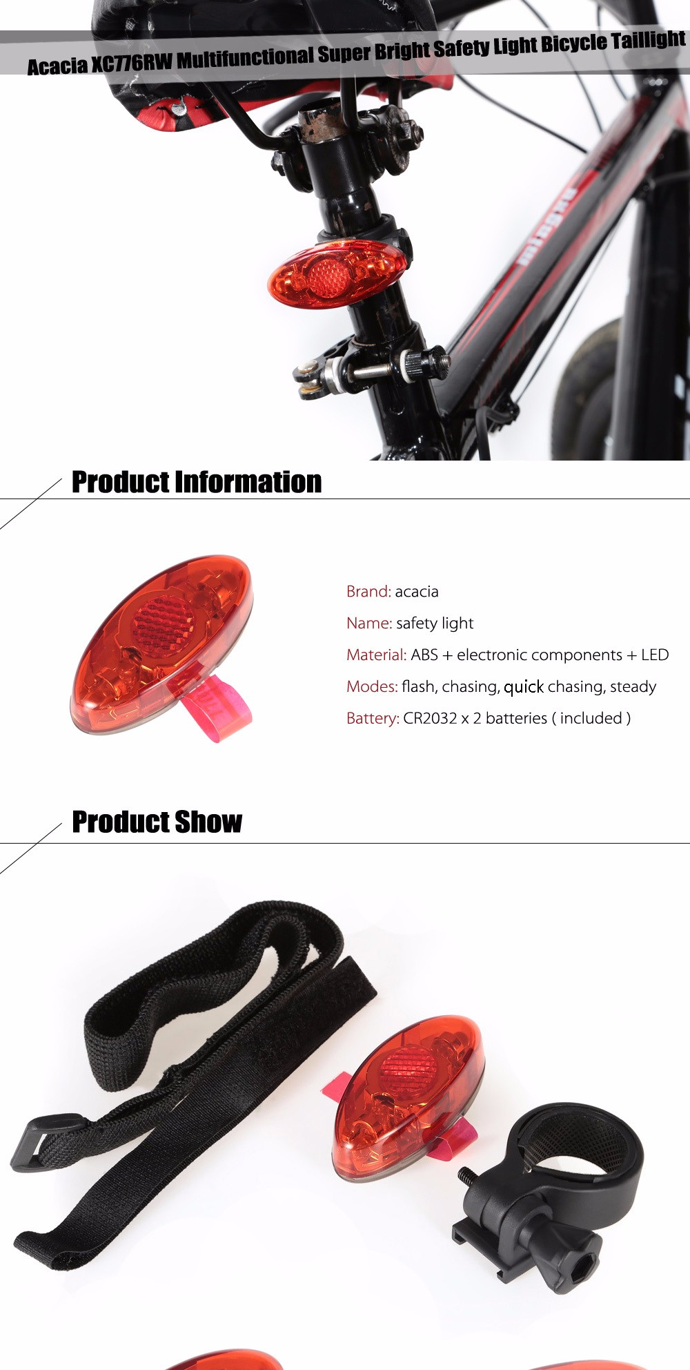 Acacia XC776RW Multifunctional Super Bright Safety Light Bicycle Taillight