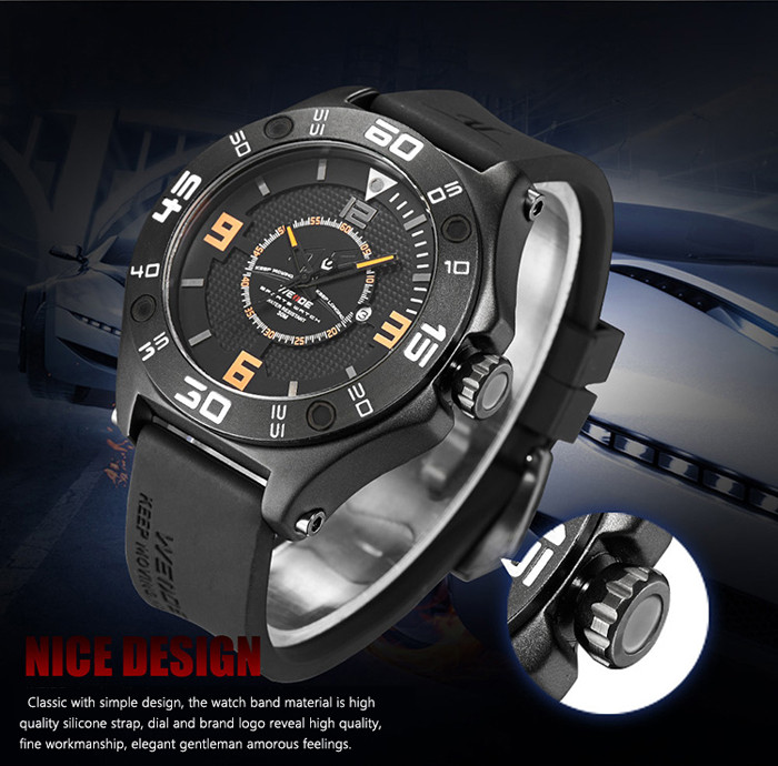 WEIDE 1502 Sports Three-loop Scales Male Quartz Watch with Silicone Strap