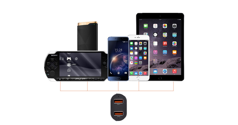 Elephone Tornado Qualcomm Certification 3.0 Quick Charge Car Charger Power Adapter Dual USB Output