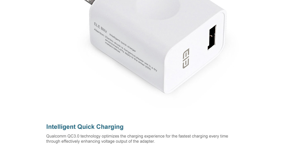 Elephone Blitz Qualcomm Certification 3.0 US Standard Plug Quick Charge Power Charger Adapter