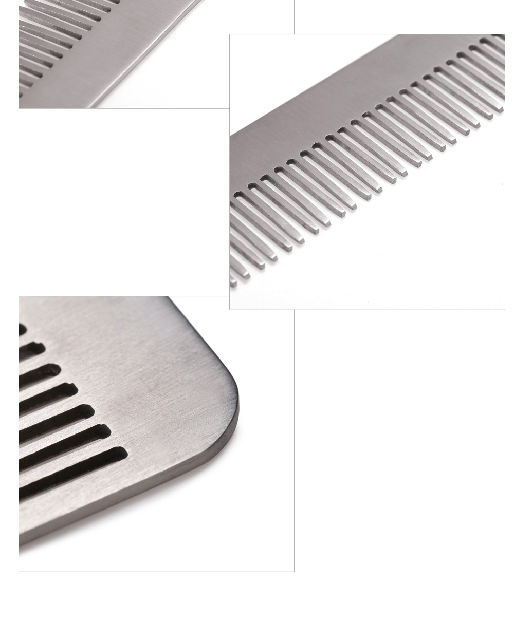 FURA Anti-static 5Cr13Mov Stainless Steel Comb with Hanging Hole